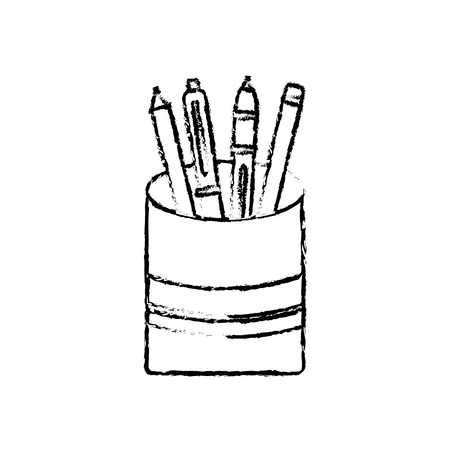 plastic cup with pencil pen supplies office vector illustration sketch design