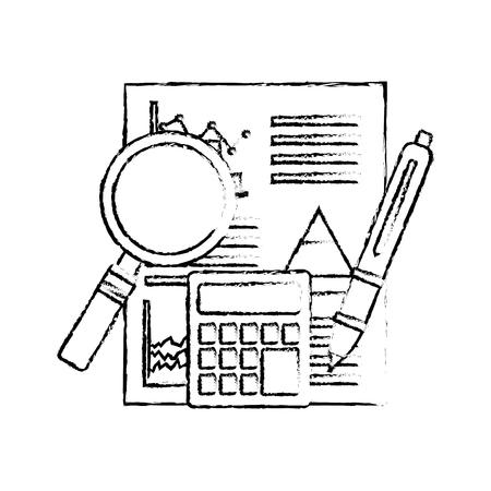 statistics analysis business financial report document calculator pen vector illustration sketch design
