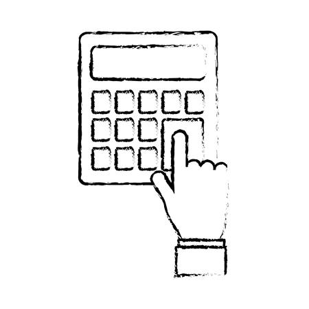 hand pressing calculator button financial vector illustration sketch design Çizim
