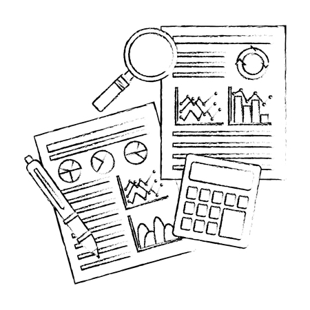 documents statistic data analysis financial analytics strategic report vector illustration sketch design