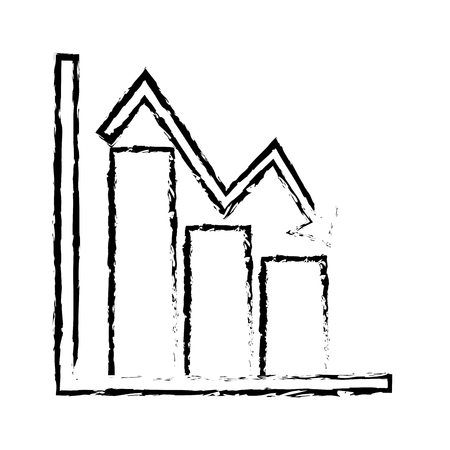 business financial bar graph chart diagram crisis problem vector illustration sketch design Illustration
