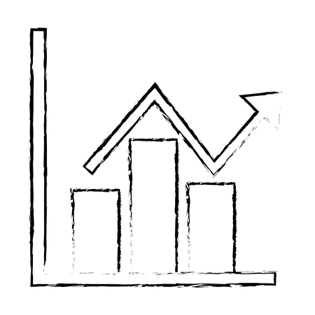 business financial bar graph chart diagram growth profit vector illustration sketch design