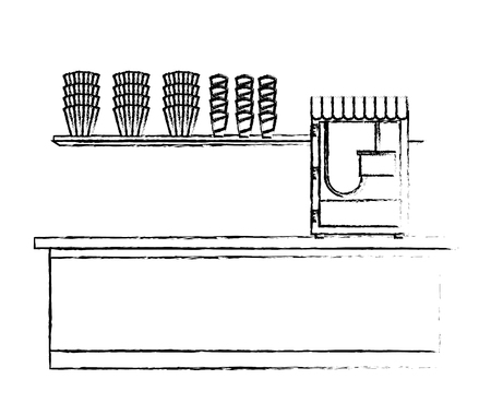 cinema bar counter machine pop corn vector illustration vector illustration sketch design