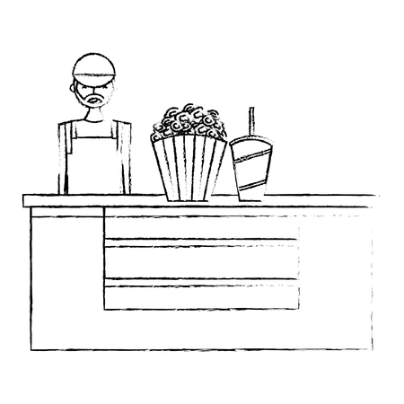 salesman cinema bar counter with pop corn soda vector illustration vector illustration sketch design Illustration