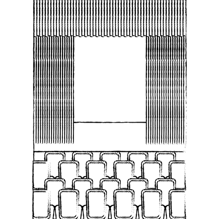 theater cinema curtains and seats vector illustration vector illustration sketch design Stock Illustratie