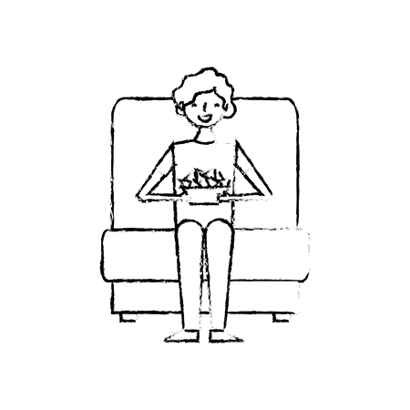 young man sitting in cinema seat with nachos vector illustration vector illustration sketch design
