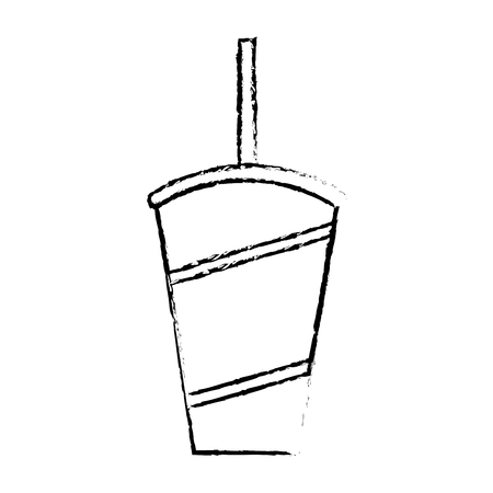 disposable fresh soda cup with straw vector illustration vector illustration sketch design