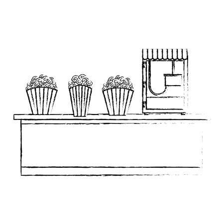 cinema bar counter machine bucket popcorn vector illustration vector illustration sketch design Illusztráció