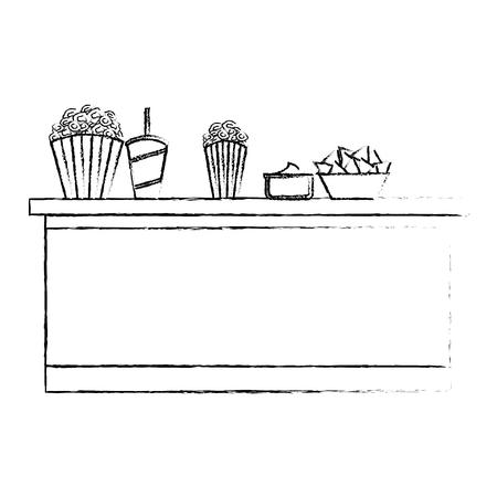 cinema bar counter buckets popcorn soda nachos food vector illustration vector illustration sketch design Illustration