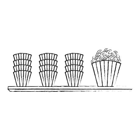 cinema shelf buckets pop corn vector illustration vector illustration sketch design Illustration