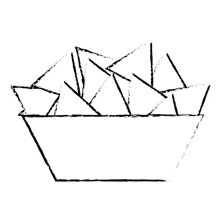 bowl nachos snack food image vector illustration vector illustration sketch design Vettoriali
