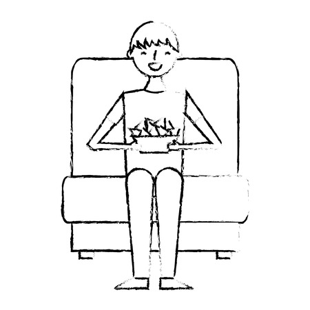young man sitting in cinema seat with nacho vector illustration vector illustration sketch design