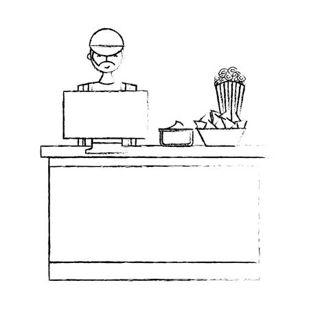 salesman cinema bar counter computer popcorn nacho and sauce vector illustration vector illustration sketch design Illustration