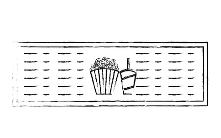 cinema menu board popcorn and soda vector illustration vector illustration sketch design