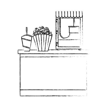 cinema bar counter machine make popcorn and bucket soda with straw vector illustration vector illustration sketch design