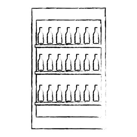 fridge with bottles drink beverages vector illustration vector illustration sketch design  イラスト・ベクター素材