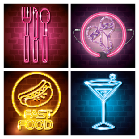 Fast food and drinks with neon lights icons vector illustration design Çizim