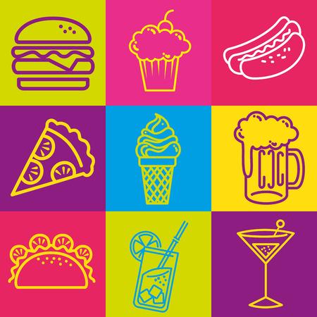 Fast food set icons vector illustration design