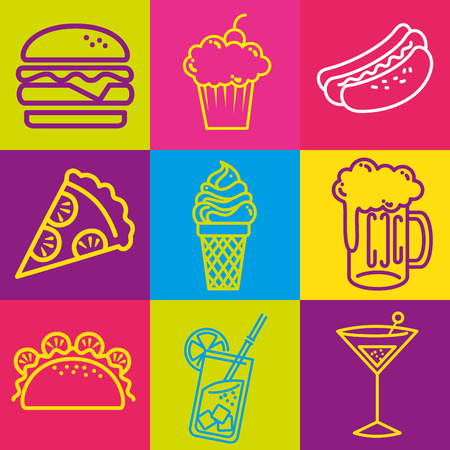 Fast food set icons vector illustration design