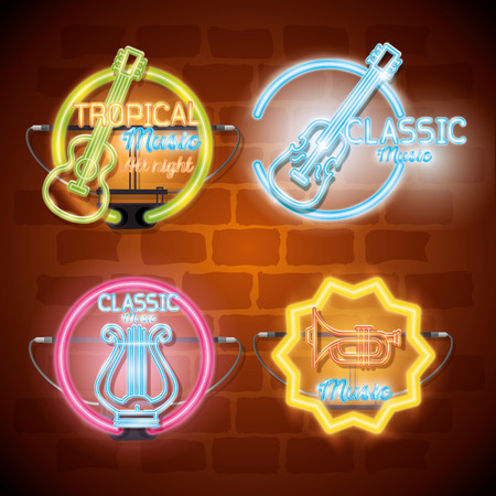 Musical instruments with neon lights set icons vector illustration design