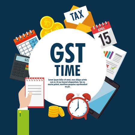 gst time set elements icons vector illustration design Illustration