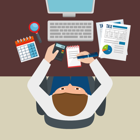 Businessman working with tax set icons vector illustration design
