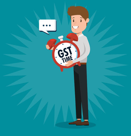 businessman with gst set icons vector illustration design
