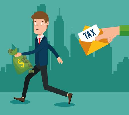 businessman with tax set icons vector illustration design Illustration