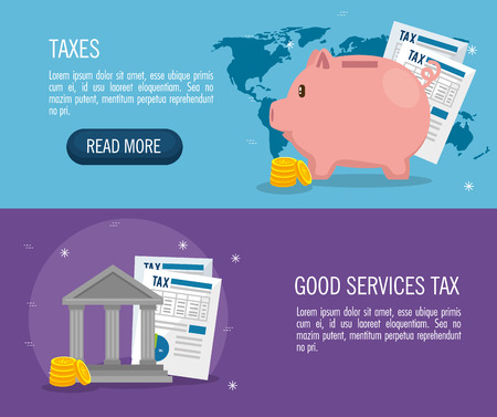 tax day time set icons vector illustration design