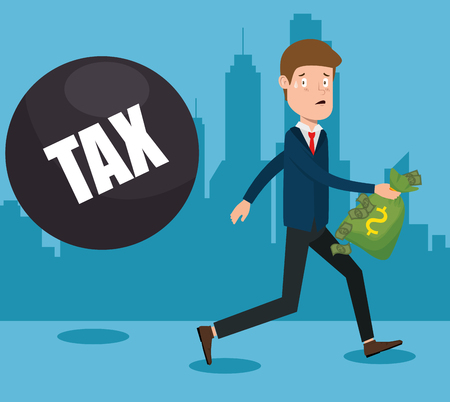 Businessman with tax set icons vector illustration design