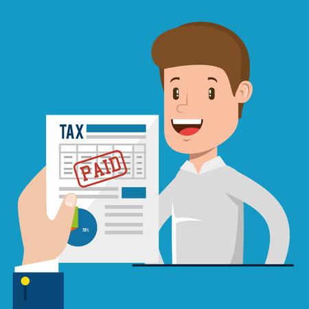 Businessman with tax set icons vector illustration design Foto de archivo - 98354325