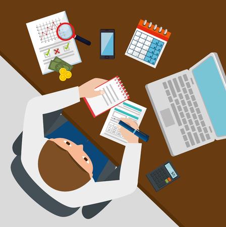 businessman working with tax set icons vector illustration design Illustration