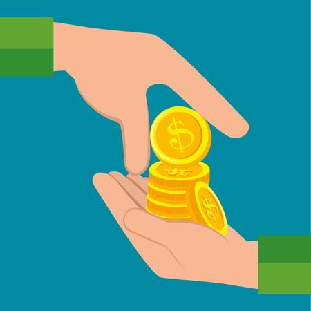 hand pay coins icon vector illustration design