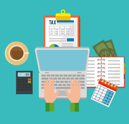 Tax day time set icons vector illustration design.