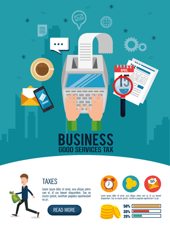 Businessman with tax set icons vector illustration design.