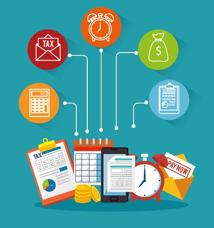belastingaangifte tijd set iconen vector illustratie ontwerp