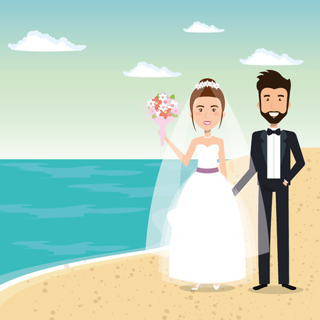 Juste couple marié dans la plage illustration vectorielle design Banque d'images - 98316202