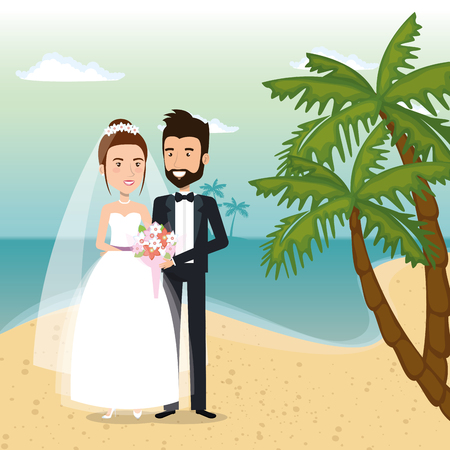 just married couple in the beach vector illustration design