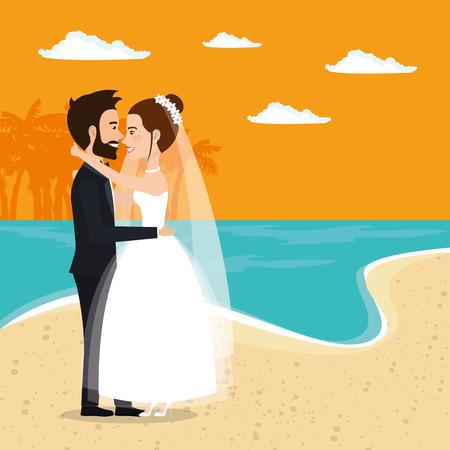 Juste couple marié dans la plage illustration vectorielle design Banque d'images - 98316203