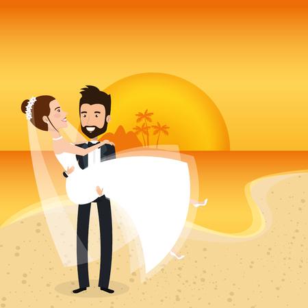 Juste couple marié dans la plage vector illustration design Banque d'images - 98316419