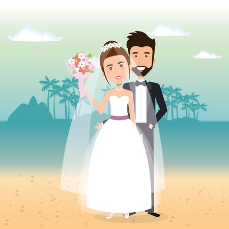 Juste couple marié dans la plage vector illustration design Banque d'images - 98316420