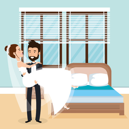 Just married couple in the bedroom vector illustration design.