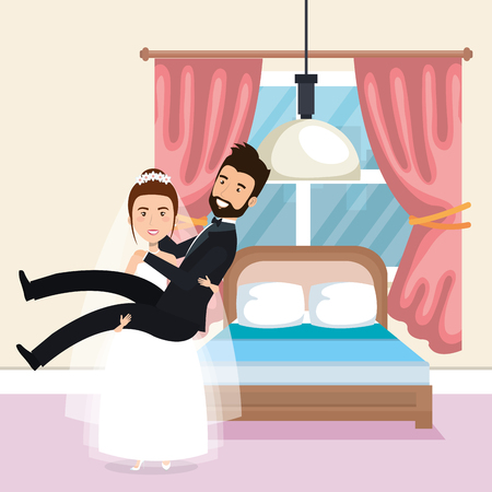 just married couple in the bedroom vector illustration design Иллюстрация