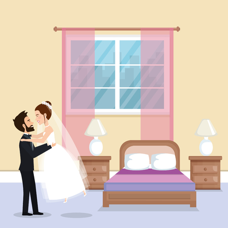 just married couple in the bedroom vector illustration design Illustration