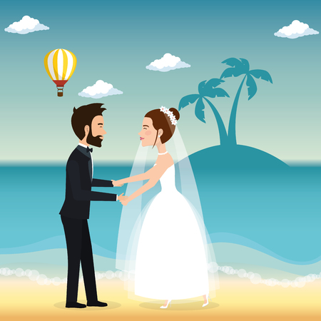 Juste couple marié dans la plage illustration vectorielle design Banque d'images - 98316426
