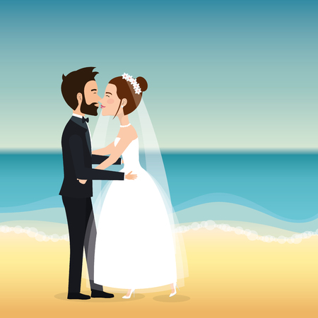 Just married couple in the beach vector illustration design.