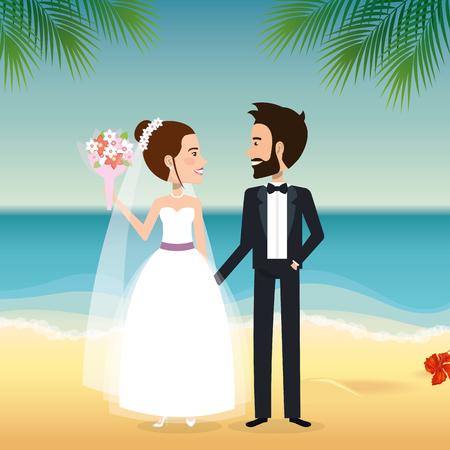 Juste couple marié dans la plage vector illustration design Banque d'images - 98316427