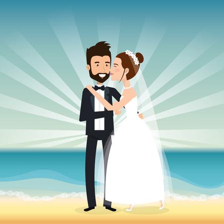 Juste couple marié dans la plage vector illustration design Banque d'images - 98316428