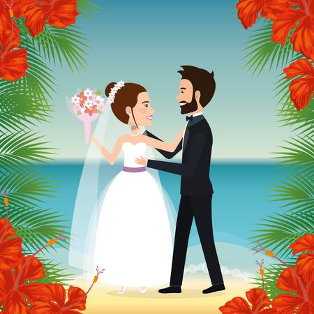 Juste couple marié dans la plage illustration vectorielle design Banque d'images - 98316436