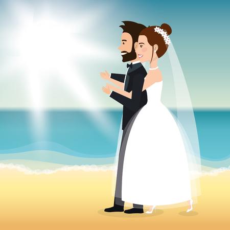Juste couple marié dans la plage illustration vectorielle design Banque d'images - 98316431